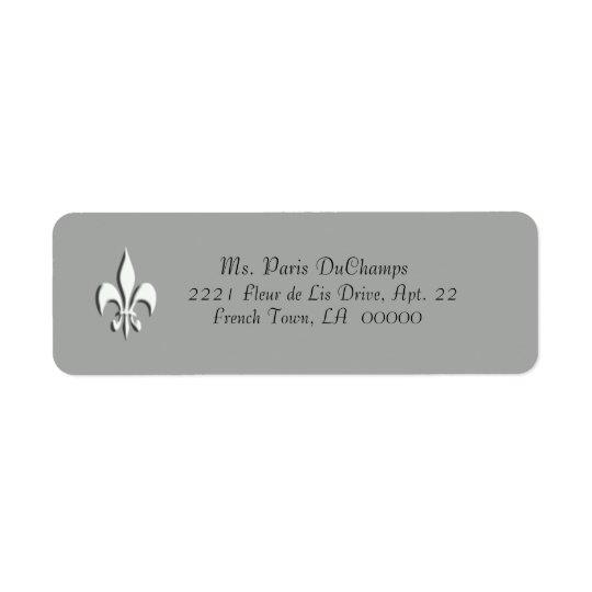 White Fleur de Lis on Grey Return Label Return Address Label