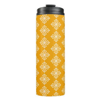 White Fleur De Lis on Pumpkin Thermal Tumbler