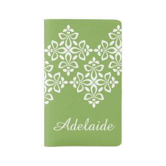 White Fleur De Lis on Spring Greenery Large Moleskine Notebook