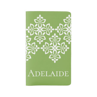 White Fleur De Lis on Spring Greenery Personalized Large Moleskine Notebook