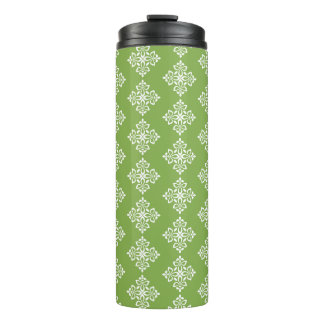 White Fleur De Lis on Spring Greenery Thermal Tumbler