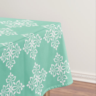 White Fleur De Lis on Winter Sky Blue Tablecloth