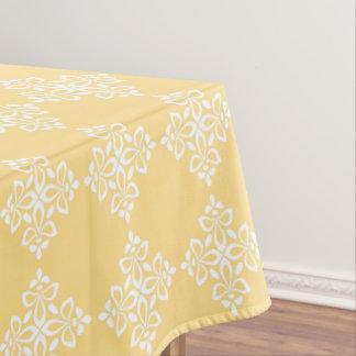White Fleur De Lis on Yellow Tablecloth