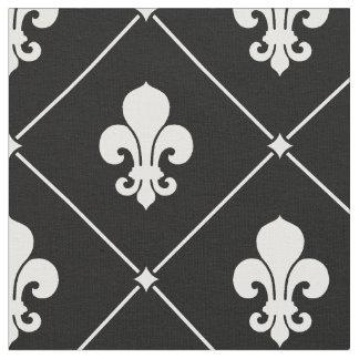 White Fleur De Lis Pattern Fabric