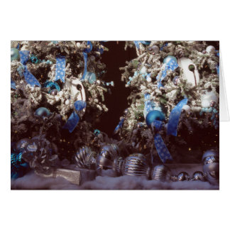 White Flocked Christmas Trees with Blue Ornaments Card