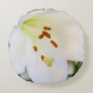 White Flora Round Pillow