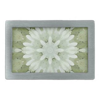 white floral abstract engagement wedding home art rectangular belt buckles