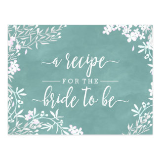 White Floral Any Color Bride Wedding Recipe Card