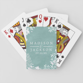 White Floral Any Color Watercolor Wedding Favor Playing Cards