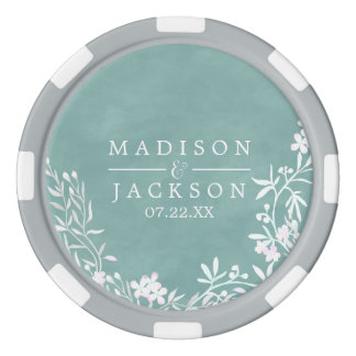 White Floral Any Color Watercolor Wedding Favor Poker Chips