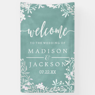White Floral Any Color Watercolor Wedding Welcome Banner