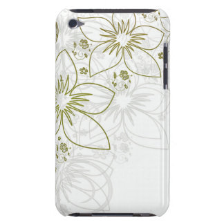 White Floral Art Barely There iPod Cases