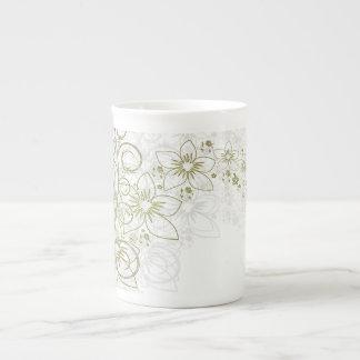 White Floral Art Bone China Mug