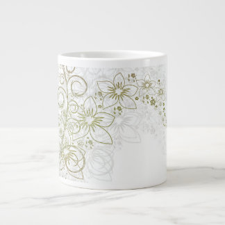 White Floral Art Jumbo Mug