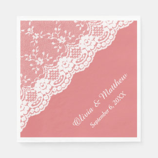 White Floral Border Lace on Coral Wedding Paper Napkin