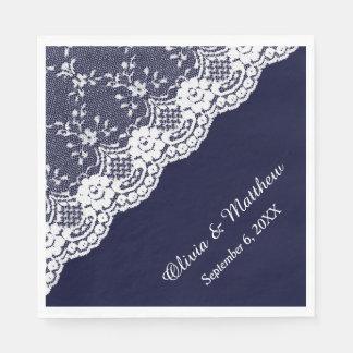 White Floral Border Lace on Navy Blue Wedding Napkin