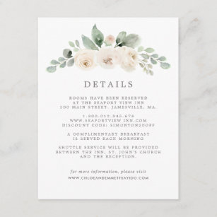 White Floral Botanical Wedding Guest Details Enclosure Card