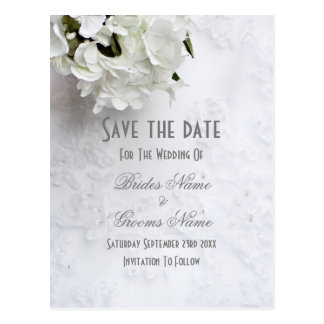 White floral bouquet wedding save the date postcard