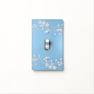 White Floral Branch Blue Winter Icy Rustic Chic Light Switch Cover