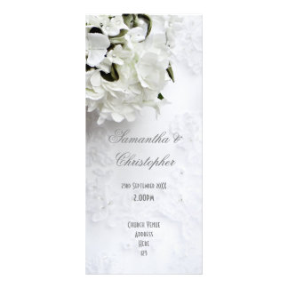 White floral bride bouquet  church wedding program customized rack card