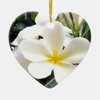 White Floral Ceramic Heart Ornament