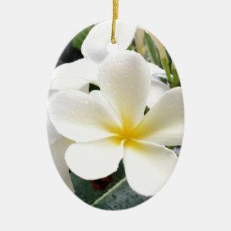 White Floral Ceramic Oval Ornament