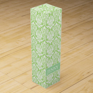 White Floral Damask Wine Boxes