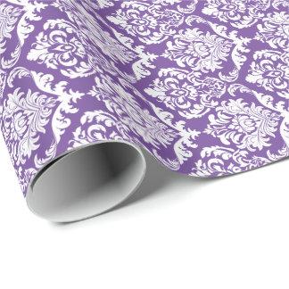 White Floral Damasks 2 Purple Background