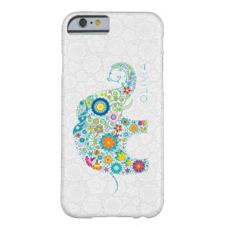 White Floral Damasks Colorful Floral Elephant Barely There iPhone 6 Case