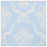 White Floral Damasks Custom Light Blue Background Fabric