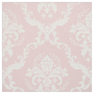 White Floral Damasks Custom Pastel Pink Background Fabric