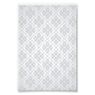 White Floral Diamonds Pattern Photographic Print