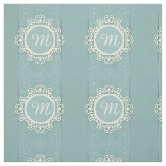White Floral Frame on Blue Damask Background Fabric