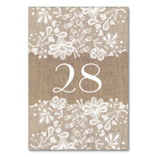 White Floral Lace and Burlap Wedding Card