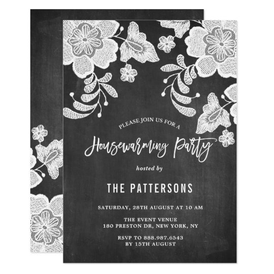 White Floral Lace Chalkboard Housewarming Party Card