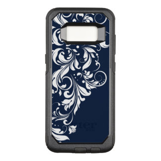 White Floral Lace Navy-Blue Background OtterBox Commuter Samsung Galaxy S8 Case