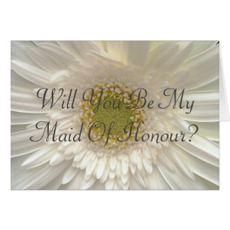 White Floral Maid Of Honor Request Card