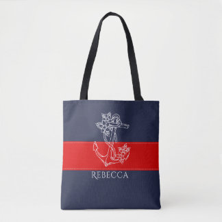 White Floral Nautical Boat Anchor Tote Bag