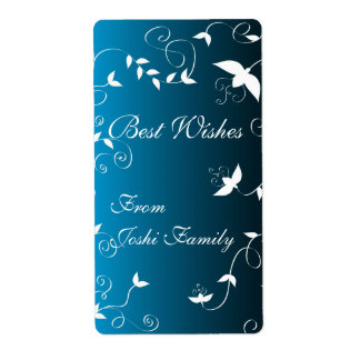 White floral on blue shipping label