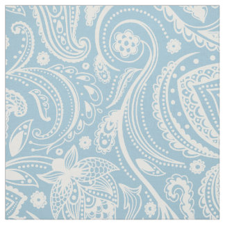 White Floral Paisley Over Custom Blue background Fabric
