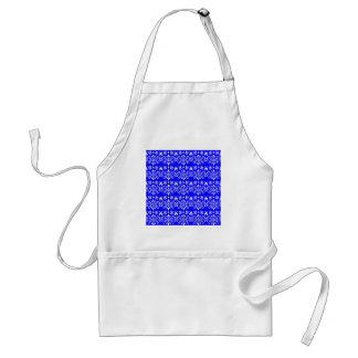 White Floral Pattern on Blue Aprons