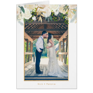 White floral photo wedding thank you note card