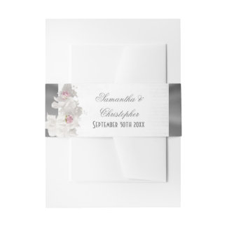 White floral pink rose and silver wedding invitation belly band