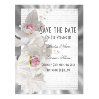 White floral pink rose silver save the date postcard