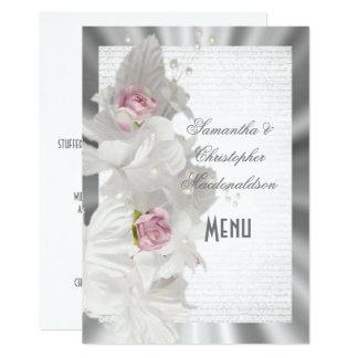 White floral pink rose silver wedding menu card