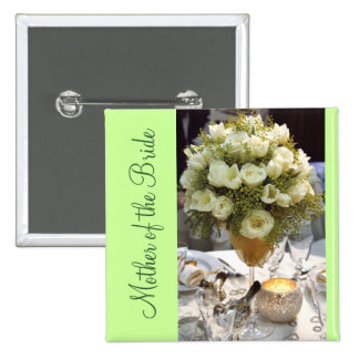 White Floral Place Setting Mother of the Bride 2 Inch Square Button