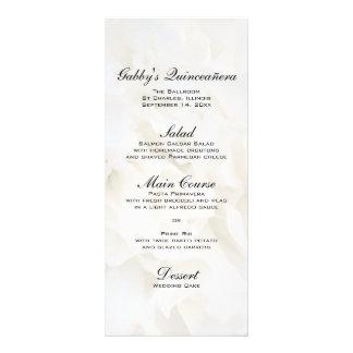 White Floral Quinceañera Menu Full Color Rack Card