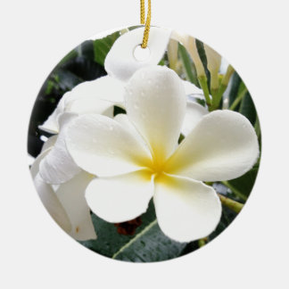 White Floral Round Ceramic Ornament