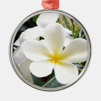 White Floral Silver-Colored Round Ornament