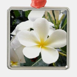 White Floral Silver-Colored Square Ornament